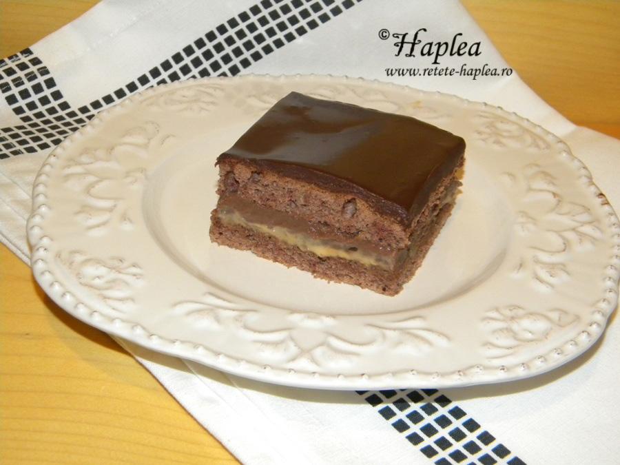 prajitura cu caramel si budinca de ciocolata